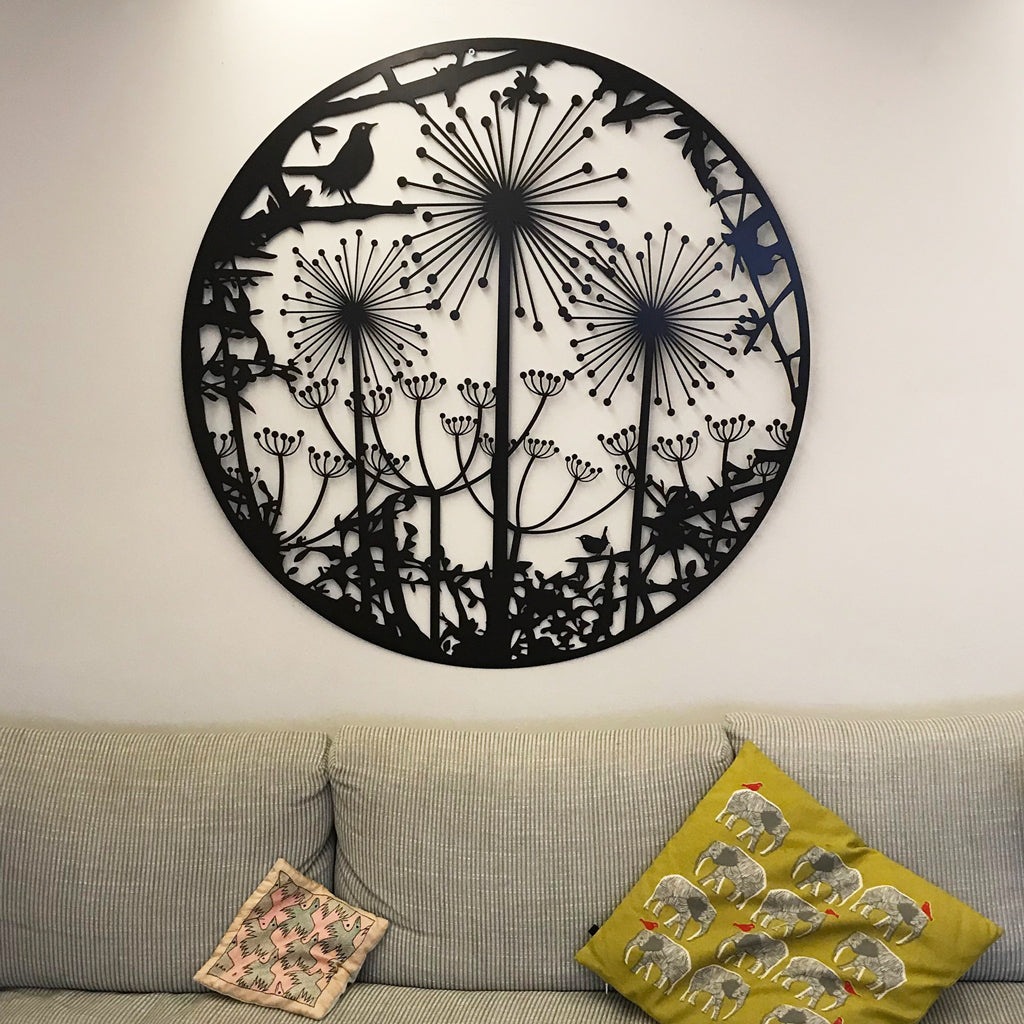 Wall Art - Hedgerow with Blackbird, Alliums and Cow Parsley