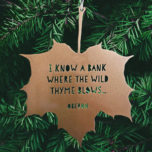 Leaf Quote - I know a bank where the wild thyme blows - Oberon - Midsummer Night's Dream
