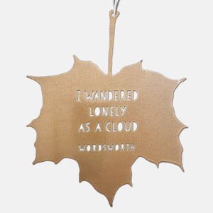Leaf Quote - I wandered lonely as a cloud - William Wordsworth