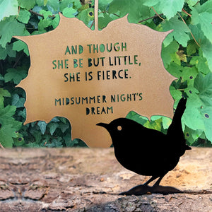 Leaf Quote - And though she be but little, she is fierce - A Midsummer Night's Dream