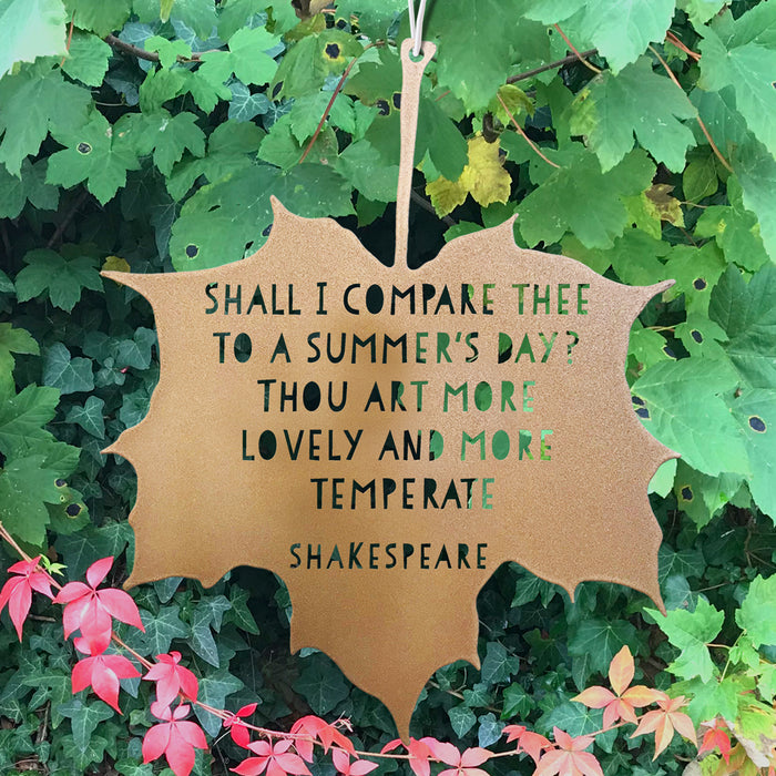 Leaf Quote - Shall I compare thee to a Summer's day? - William Shakespeare