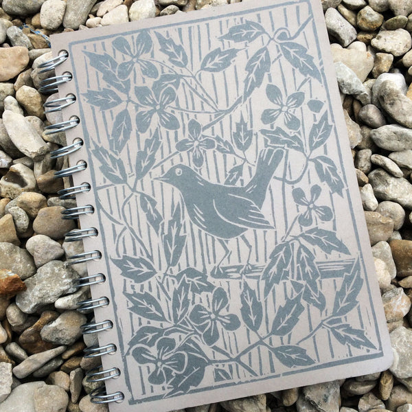 Notebook - Blackbird Linocut by Genny Early