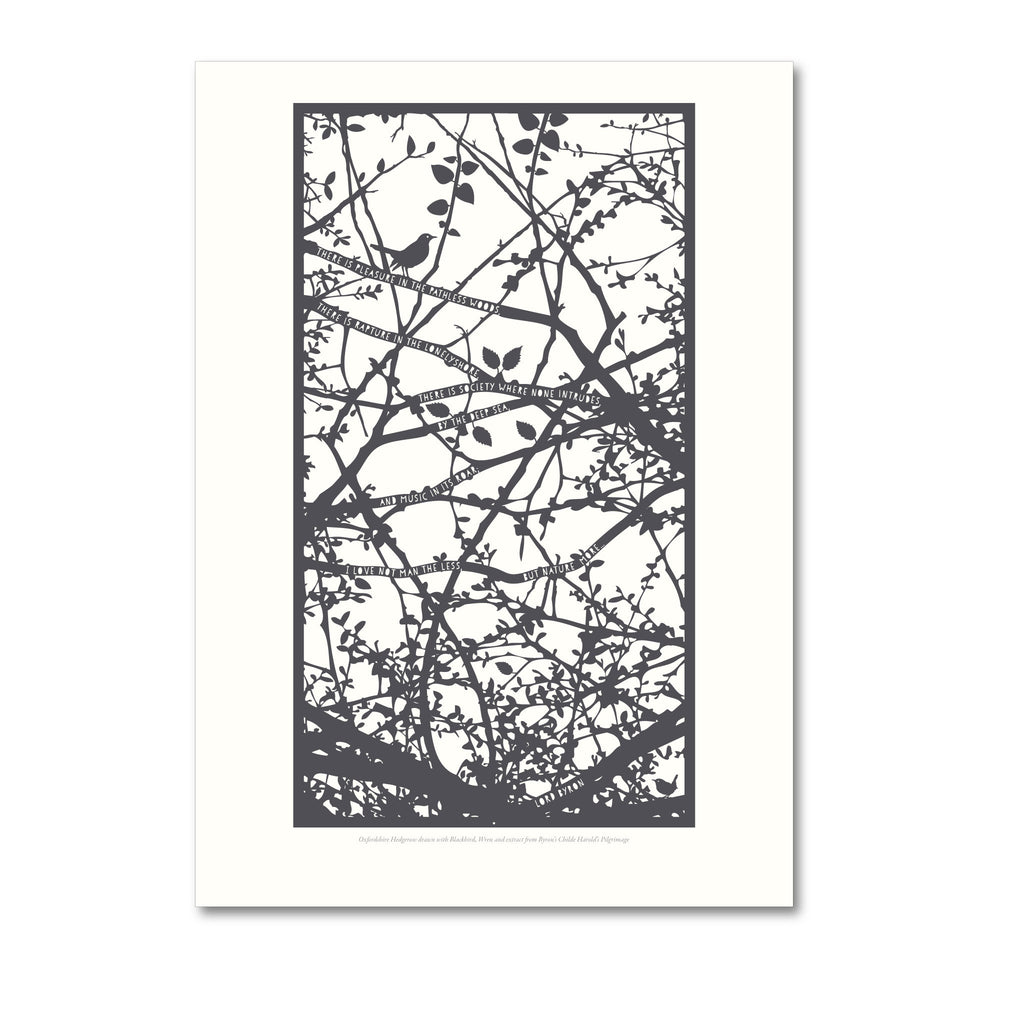 Prints - Hedgerow with Byron, Blackbird and Wren