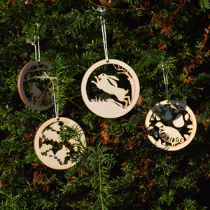 Christmas Decorations - Running Hares - Layered Poplar Ply