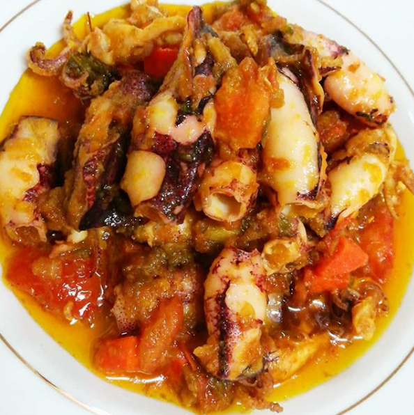 Sambal Cili Api Squid with Turmeric, Carrot & Tomato