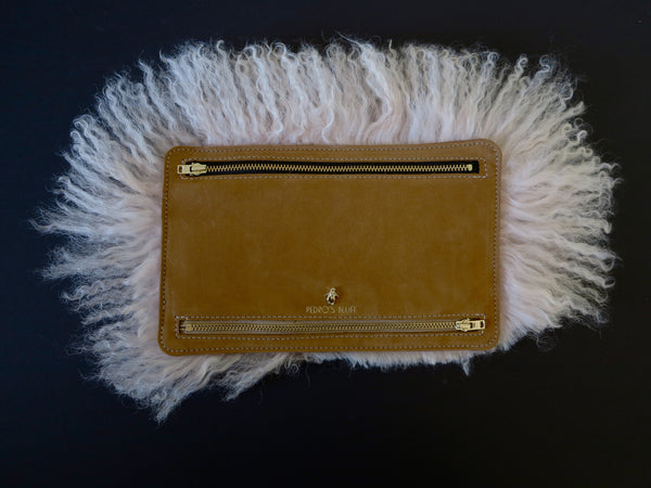 Globehopper Wallet - Buff Cow Suede / Candyfloss Lambswool - PEDRO'S BLUFF - New Zealand Leather Bags & Accessories