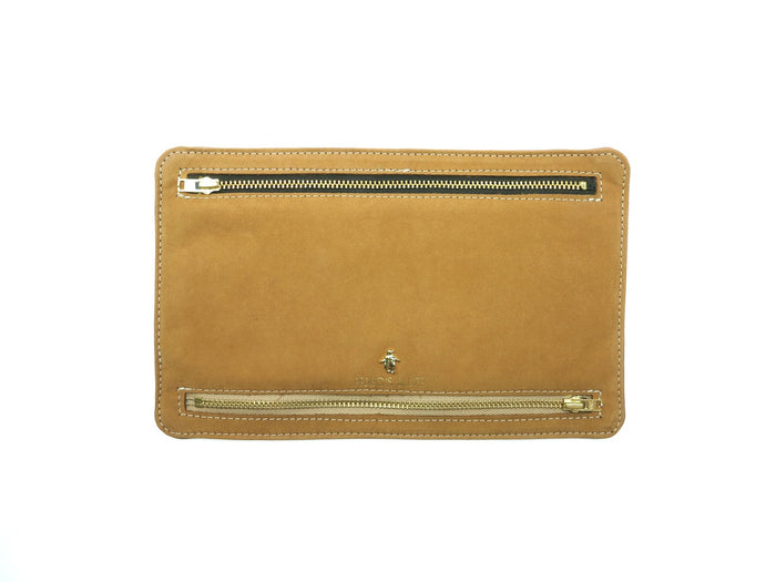 Globehopper Currency Wallet - Buff Cow Suede / Honey Deer Nappa - PEDRO'S BLUFF - New Zealand Leather Bags & Accessories