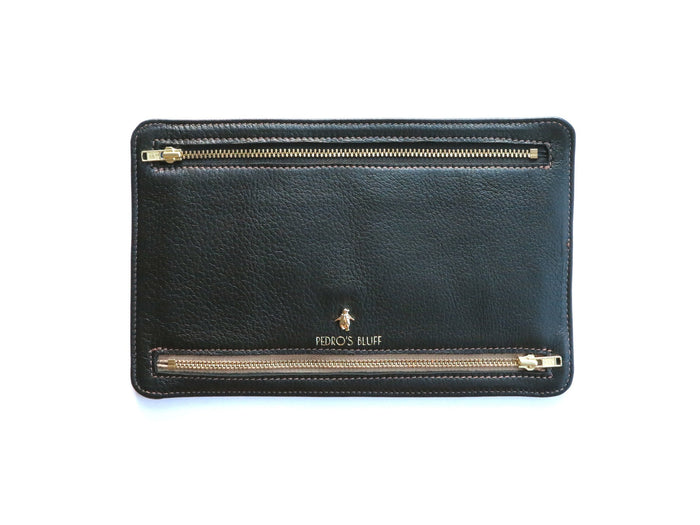 Globehopper Currency Wallet - Black Deer Nappa - PEDRO'S BLUFF - New Zealand Leather Bags & Accessories