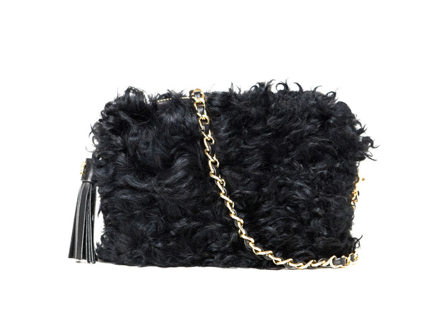 Fluffy Bluff Shearling Clutch - Black Sheep - PEDRO'S BLUFF - New Zealand Leather Bags & Accessories