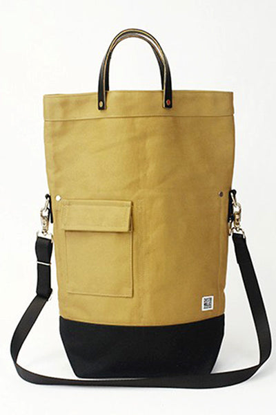 ChesterWallace Upright Totes / Tan twill canvas with Leather