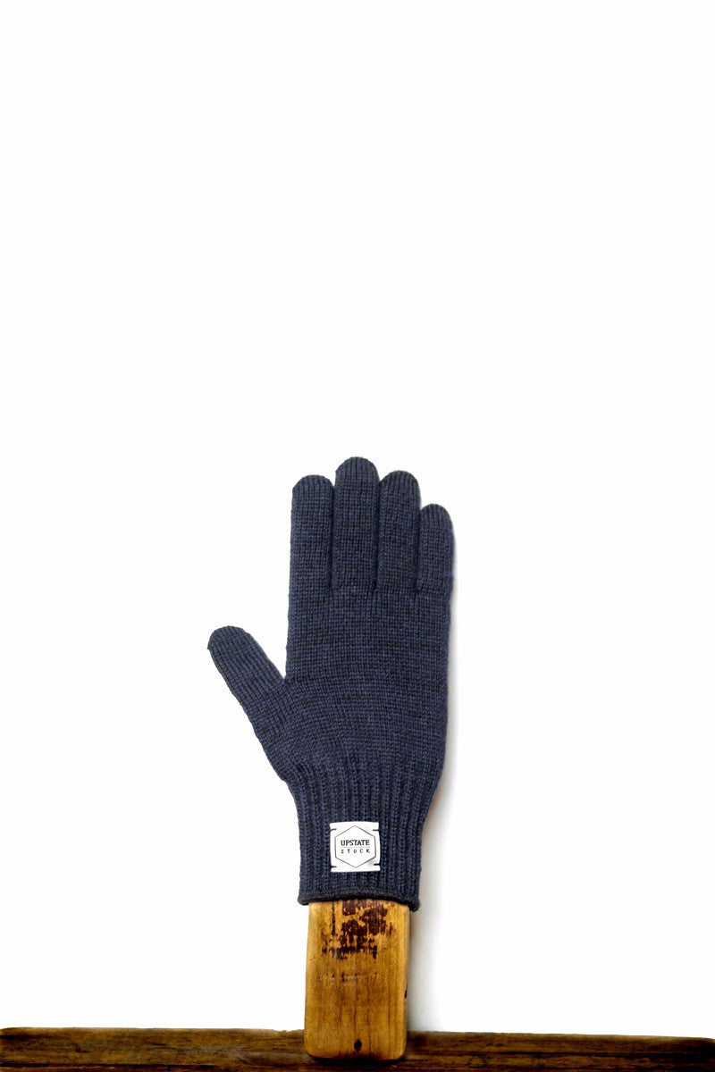 UPSTATE STOCK RAGG WOOL FULL FINGERED GLOVES NAVY MELANGE