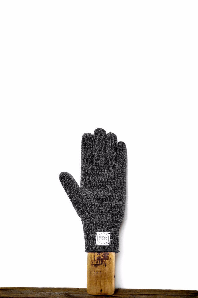 UPSTATE STOCK RAGG WOOL FULL FINGERED GLOVES BLACK MELANGE