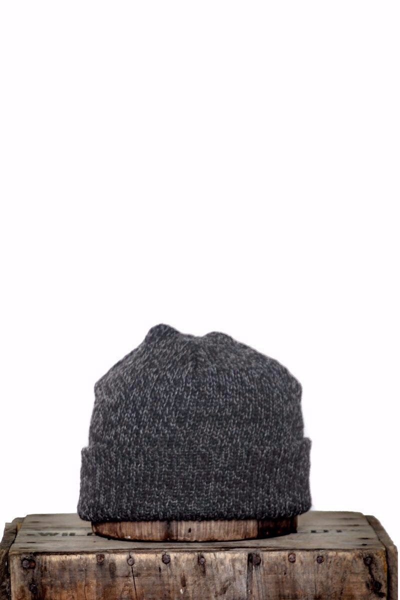 UPSTATE STOCK RAGG WOOL BEANIE IN BLACK MELANGE