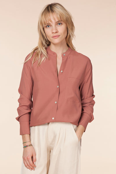 Relaxed Band Collar Blouse / Vince