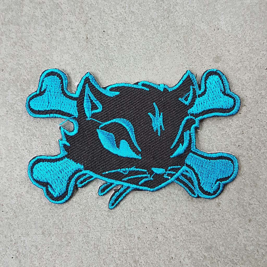"Patch ""bone kitty"" blauw"