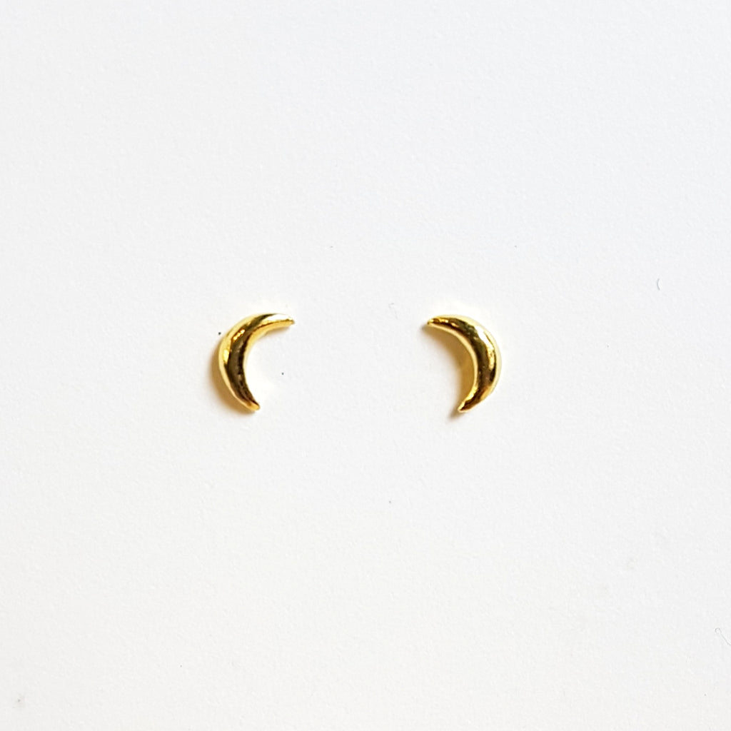 "Oorstekers ""maan"" goldplated"