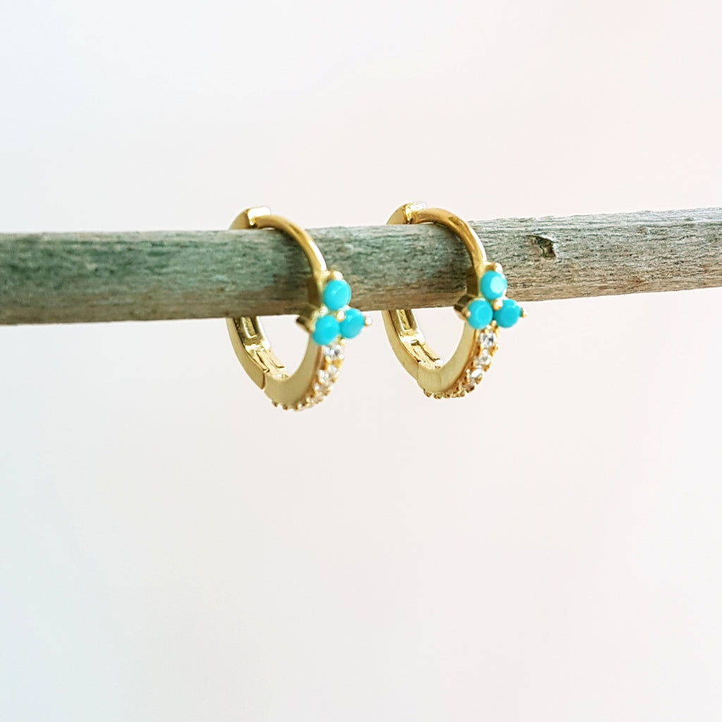 "Gold-plated oorringen ""Lelie"" turquoise"