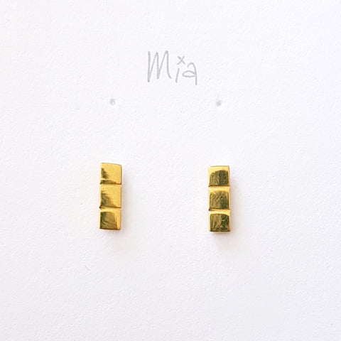 "Oorstekers ""tetris 3"" goldplated"