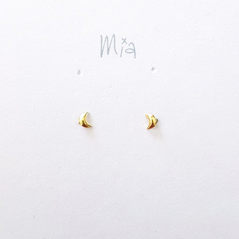 "Oorstekers ""maan"" mini goldplated"