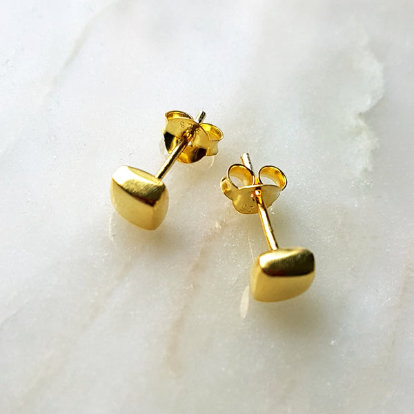 "Oorstekers ""solid square""  goldplated"