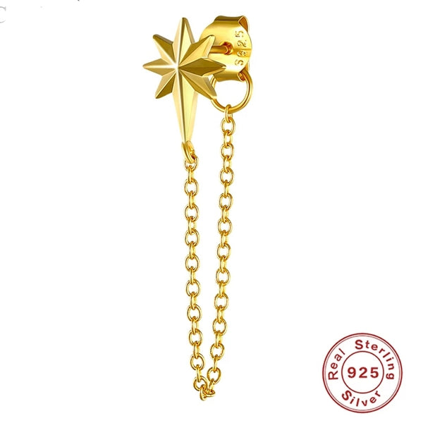 "gold plated chain oorbel ""star"""
