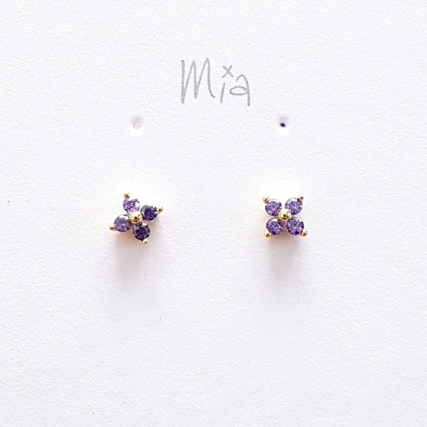 "Oorstekers ""lila flower""  goldplated"