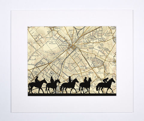 Mounted Print, Silhouette of horses