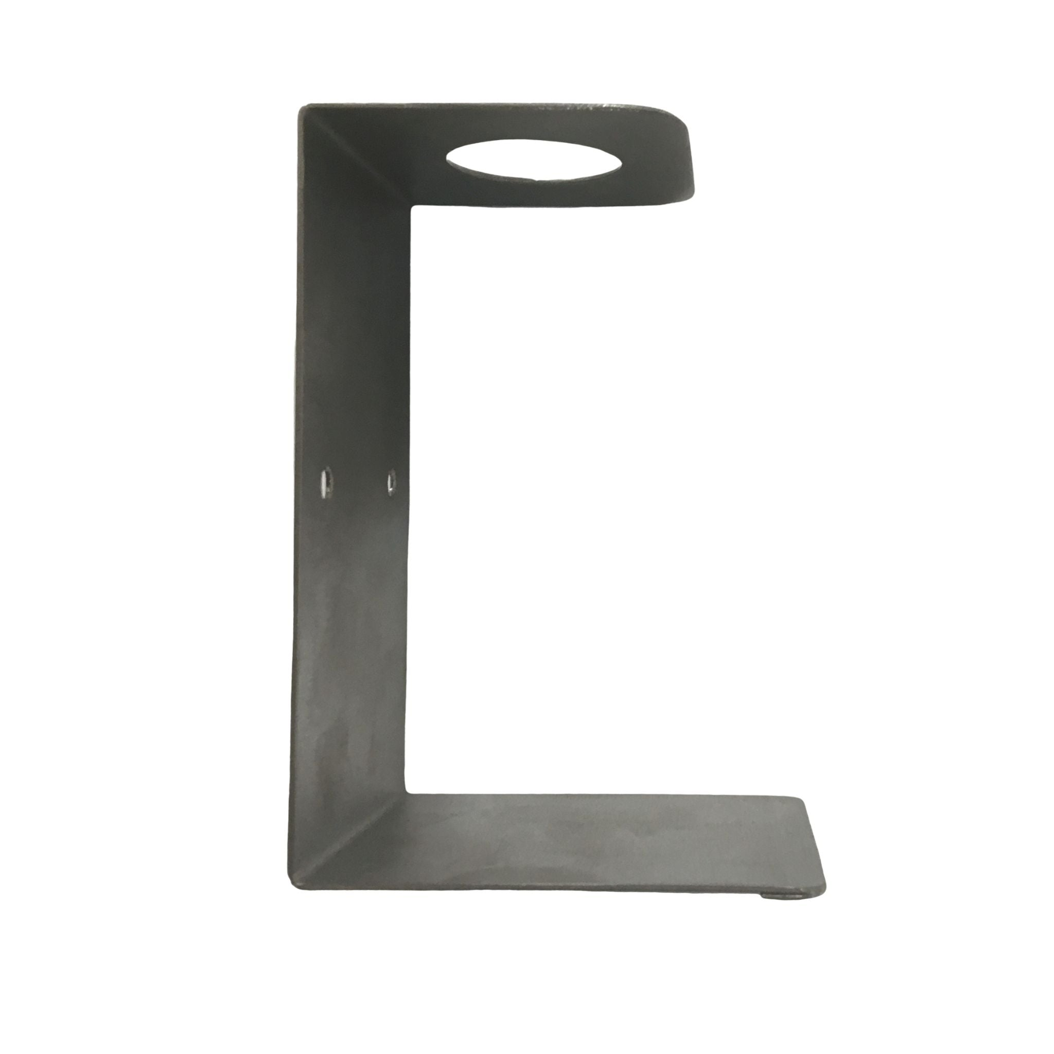 Side view empty hand sanitiser wall bracket