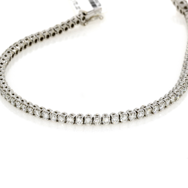 Brilliant Cut Diamond Line Bracelet - 18ct White Gold