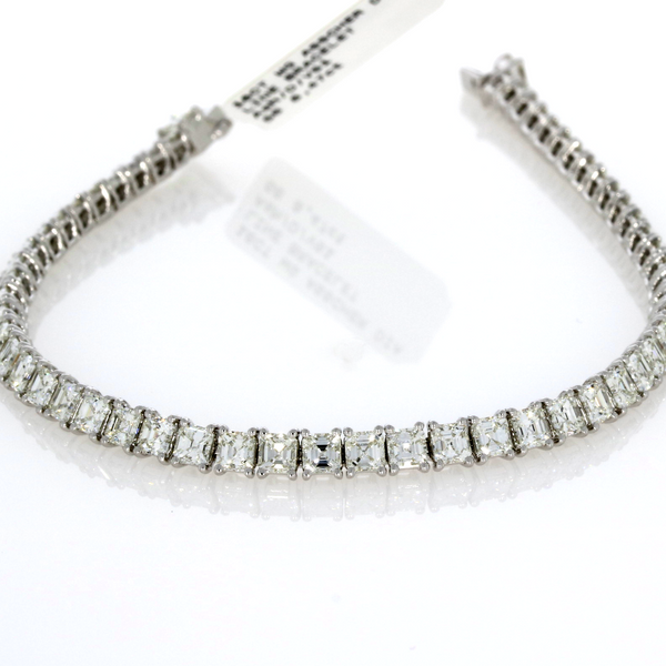 Asscher Cut Diamond Line Bracelet - 18ct White Gold
