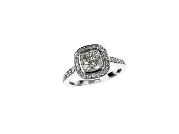 Hans D Krieger Cushion and Brilliant Cut Diamond Ring - Platinum