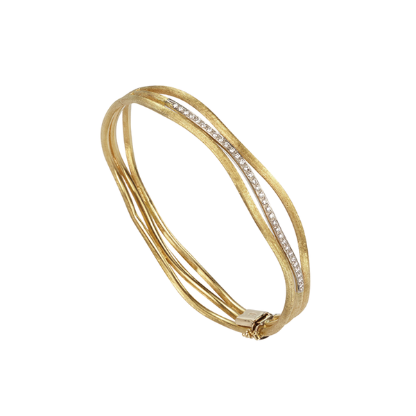 Marco Bicego 3 Row Jaipur Diamond Bangle - 18ct Yellow Gold - SB53 B