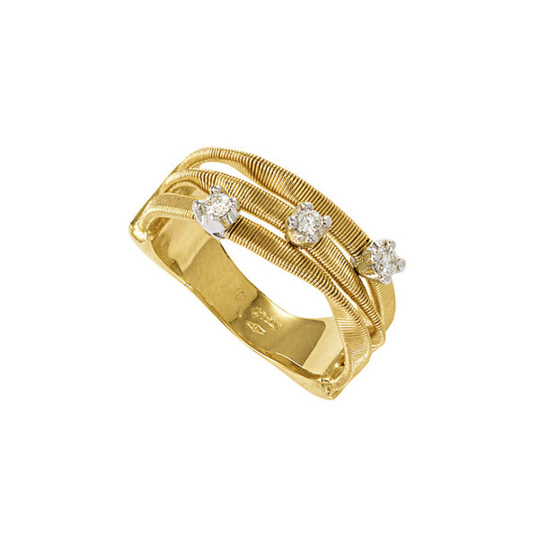 Marco Bicego Marrakech 3 Row Diamond Ring - 18ct Yellow Gold - AG158 B