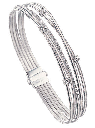 Marco Bicego 5 Strand Goa Diamond Bracelet - 18ct White Gold - BG618 B2