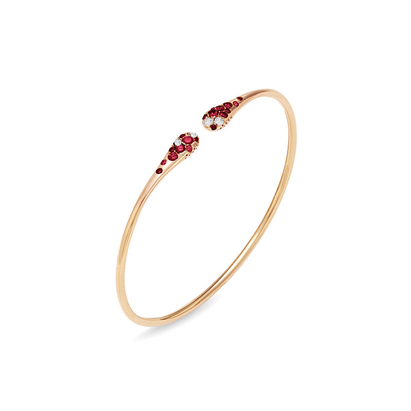 Ponte Vecchio Gioielli Iside Flex Ruby & Diamond Bangle- 18ct Rose Gold - CB446RUR