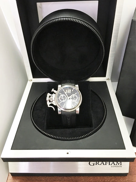 Pre Owned Graham Chronofighter RAC Black Shock - Steel - 2CRBS.B03A
