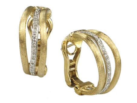 Marco Bicego Jaipur Link Hoop Diamond Earrings - 18ct Yellow Gold - OB1028 B