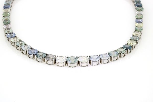 Natural Burmese Sapphire Collar - 18ct White Gold