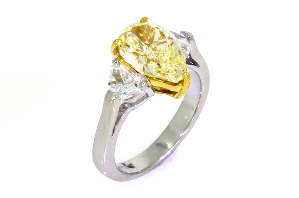 Pear Shaped Yellow Diamond Platinum Ring