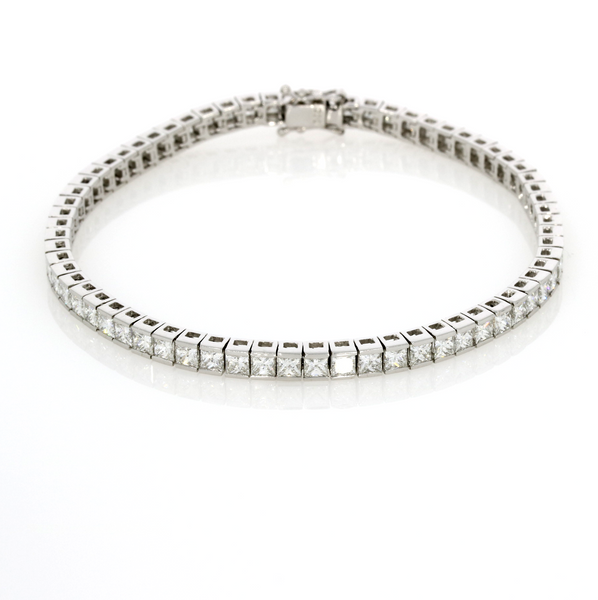Princess Cut Diamond Line Bracelet - 18ct White Gold