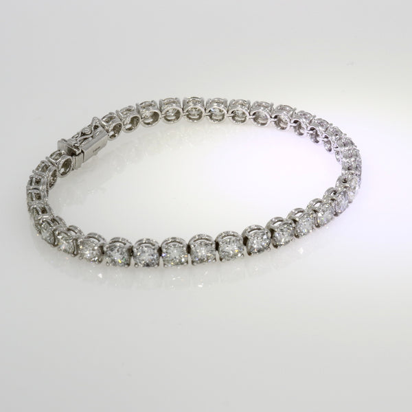 Brilliant Cut Diamond Line Bracelet - 18ct White Gold - 14.85ct