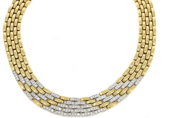 Panthere Style 5 Row Diamond Collar - 18ct Yellow & White Gold