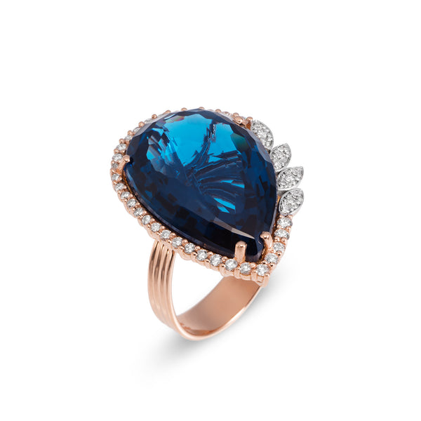 Ponte Vecchio Gioielli Blue Moon Ring - 18ct Rose Gold - SA1020SPR