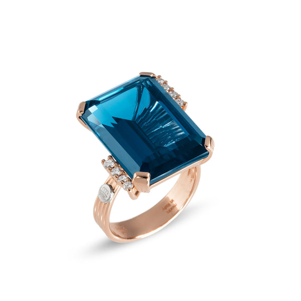 Ponte Vecchio Gioielli Blue Moon Ring - 18ct Rose Gold - SA1022SPR