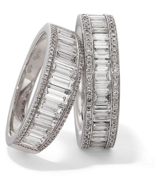 Hans D Krieger Baguette and Brilliant  Cut Diamond Full Eternity Ring - 18ct White Gold