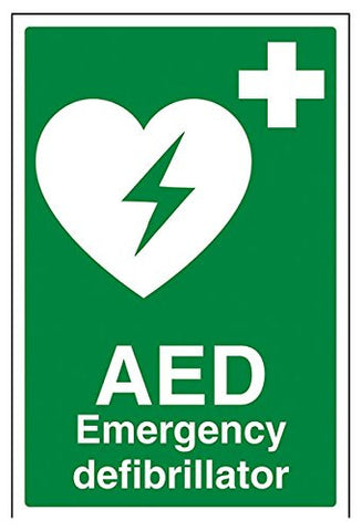 "AED Emergency Defibrillator""Sign, Rigid Plastic, Portrait, 200 mm x 300 mm,"