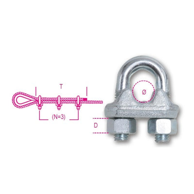 Robur Beta 8016DA Wire rope clips with high nuts, hot forged steel body, galvanized