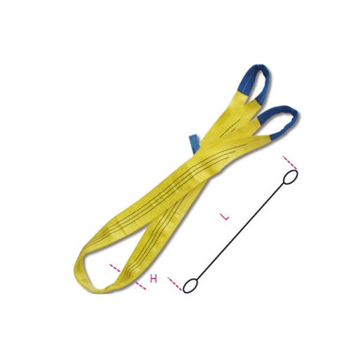 Beta 8156 Lifting web slings, yellow 3t, two layers with reinforced eyes