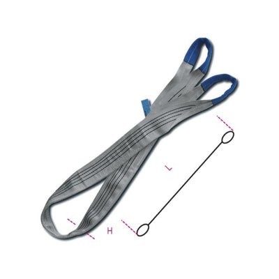 Beta 8157 Lifting web slings, grey 4t two layers with reinforced eyes
