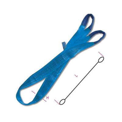 Beta 8160 Lifting web slings, blue 8t two layers with reinforced eyes